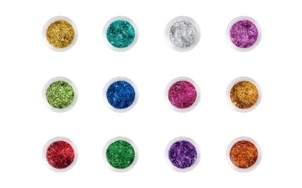 Nail Art Glitter Strips Set 12 Assorted Colours