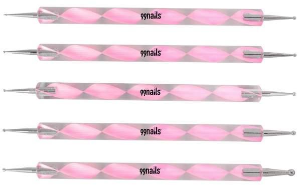 Nail Art Dotting Tool Pink 5 pcs