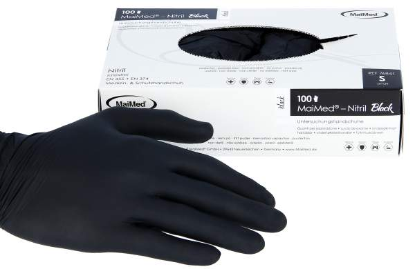 Nitrile Gloves Black 100 pack Size S