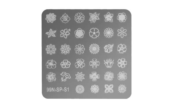 Square Stamping Plate - Flower Power