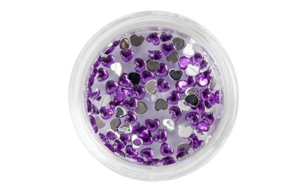Nail Art Heart-shaped Rhinestones Purple